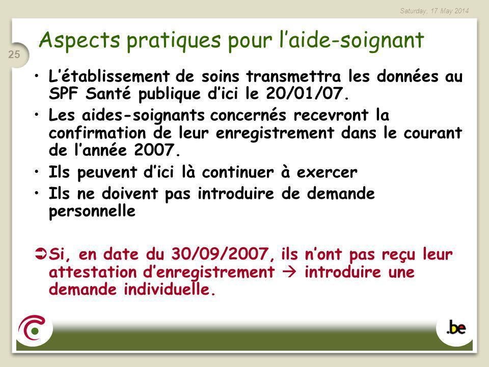 Saturday, 17 May 2014 25 Aspects pratiques pour laide-soignant Létablissement de soins transmettra les données au SPF Santé publique dici le 20/01/07.