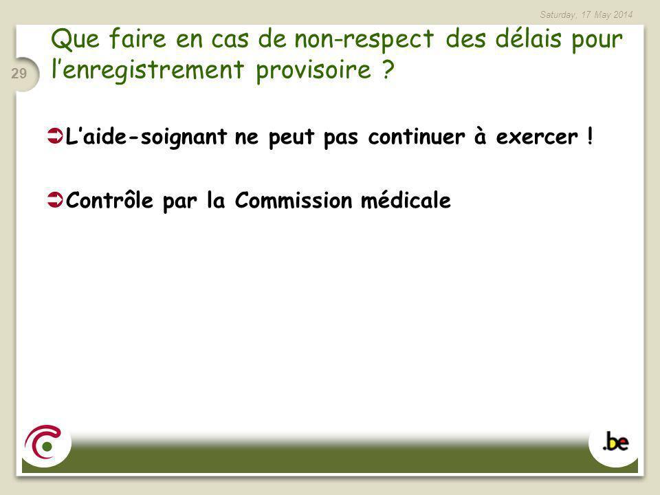 Saturday, 17 May 2014 29 Que faire en cas de non-respect des délais pour lenregistrement provisoire ? Laide-soignant ne peut pas continuer à exercer !