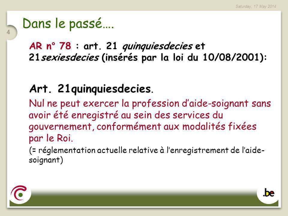 Saturday, 17 May 2014 4 Dans le passé…. AR n° 78 : art. 21 quinquiesdecies et 21sexiesdecies (insérés par la loi du 10/08/2001): Art. 21quinquiesdecie