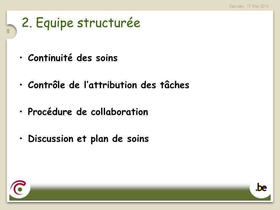 Saturday, 17 May 2014 8 2. Equipe structurée Continuité des soins Contrôle de lattribution des tâches Procédure de collaboration Discussion et plan de