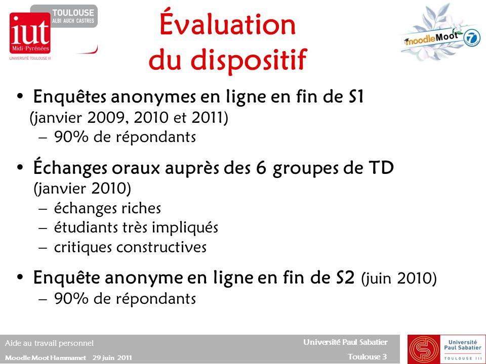 Université Paul Sabatier Toulouse 3 Aide au travail personnel Moodle Moot Hammamet 29 juin 2011 Enquêtes anonymes en ligne en fin de S1 (janvier 2009,