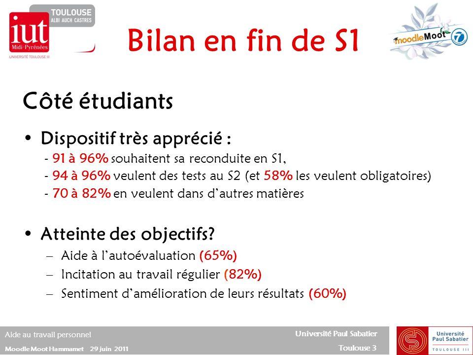 Université Paul Sabatier Toulouse 3 Aide au travail personnel Moodle Moot Hammamet 29 juin 2011 Côté étudiants Dispositif très apprécié : - 91 à 96% s
