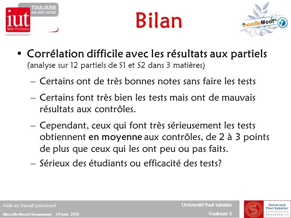 Université Paul Sabatier Toulouse 3 Aide au travail personnel Moodle Moot Hammamet 29 juin 2011 Bilan Corrélation difficile avec les résultats aux par