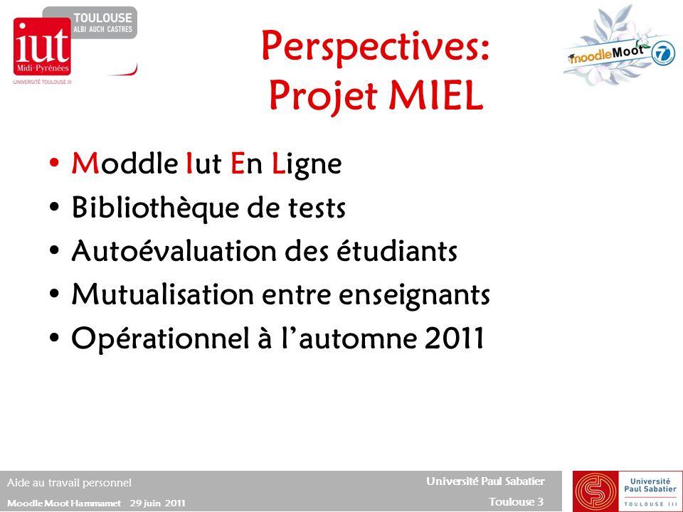 Université Paul Sabatier Toulouse 3 Aide au travail personnel Moodle Moot Hammamet 29 juin 2011 Moddle Iut En Ligne Bibliothèque de tests Autoévaluati