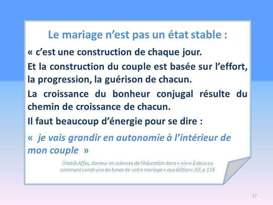 Le mariage nest pas un état stable : « cest une construction de chaque jour.