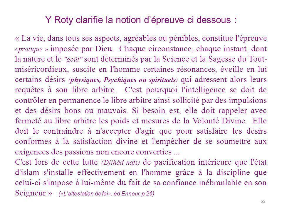 Y Roty clarifie la notion dépreuve ci dessous : « La vie, dans tous ses aspects, agréables ou pénibles, constitue l épreuve «pratique » imposée par Dieu.
