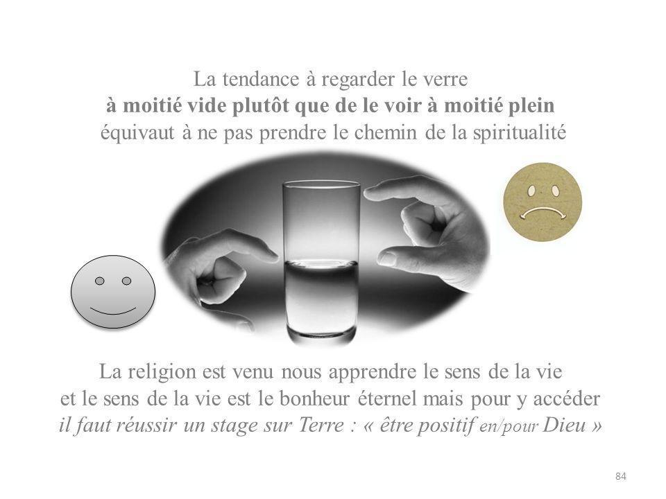 La tendance à regarder le verre à moitié vide plutôt que de le voir à moitié plein équivaut à ne pas prendre le chemin de la spiritualité La religion est venu nous apprendre le sens de la vie et le sens de la vie est le bonheur éternel mais pour y accéder il faut réussir un stage sur Terre : « être positif en/pour Dieu » 84