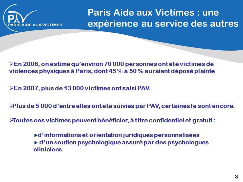 Paris Aide aux Victimes : une expérience au service des autres En 2006, on estime quenviron 70 000 personnes ont été victimes de violences physiques à