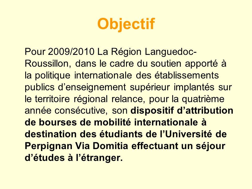 Objectif Pour 2009/2010 La Région Languedoc- Roussillon, dans le cadre du soutien apporté à la politique internationale des établissements publics denseignement supérieur implantés sur le territoire régional relance, pour la quatrième année consécutive, son dispositif dattribution de bourses de mobilité internationale à destination des étudiants de lUniversité de Perpignan Via Domitia effectuant un séjour détudes à létranger.