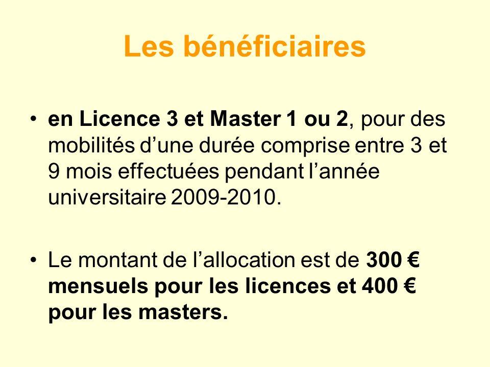 Les bénéficiaires en Licence 3 et Master 1 ou 2, pour des mobilités dune durée comprise entre 3 et 9 mois effectuées pendant lannée universitaire 2009-2010.