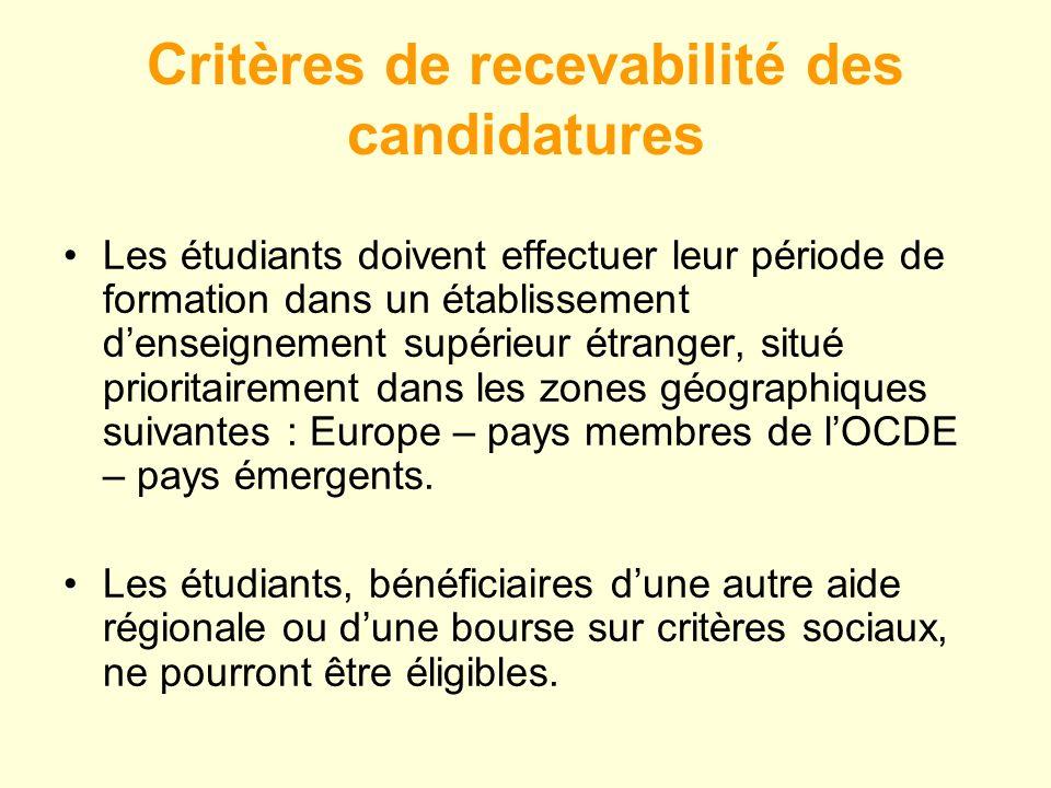 Critères de recevabilité des candidatures Les étudiants doivent effectuer leur période de formation dans un établissement denseignement supérieur étranger, situé prioritairement dans les zones géographiques suivantes : Europe – pays membres de lOCDE – pays émergents.