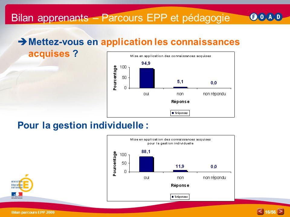 /56 Bilan parcours EPP 2009 16 Bilan apprenants – Parcours EPP et pédagogie Mettez-vous en application les connaissances acquises .