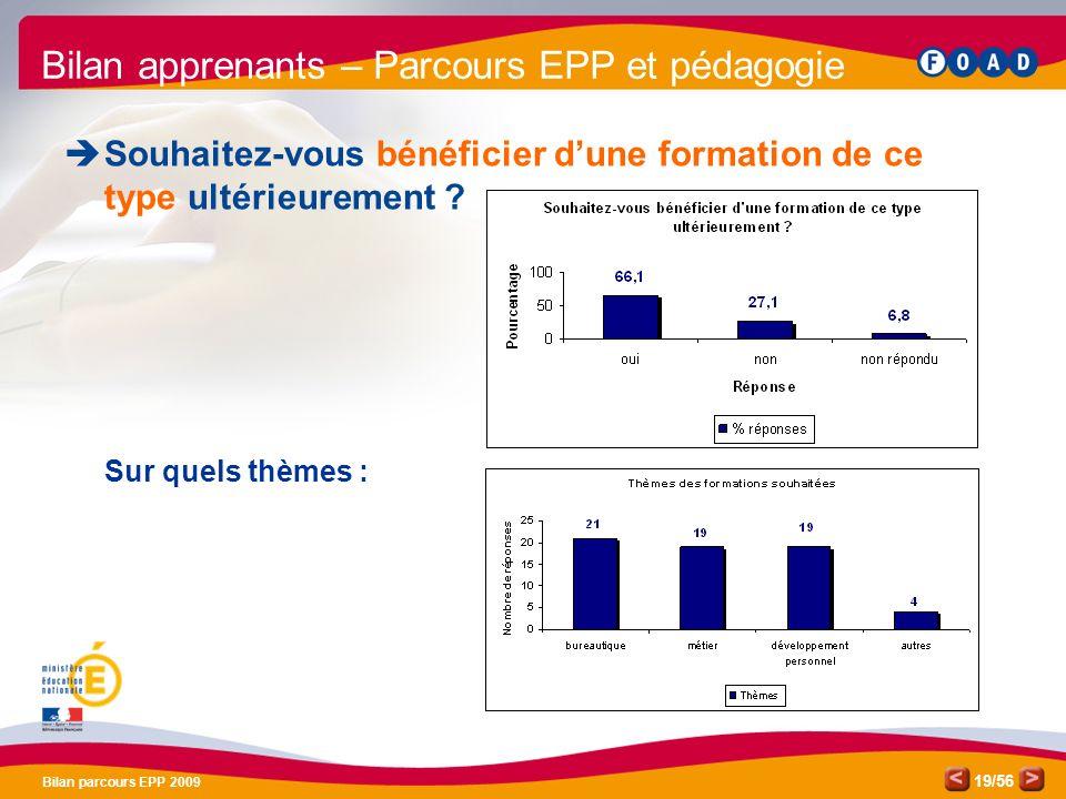 /56 Bilan parcours EPP 2009 19 Bilan apprenants – Parcours EPP et pédagogie Souhaitez-vous bénéficier dune formation de ce type ultérieurement .