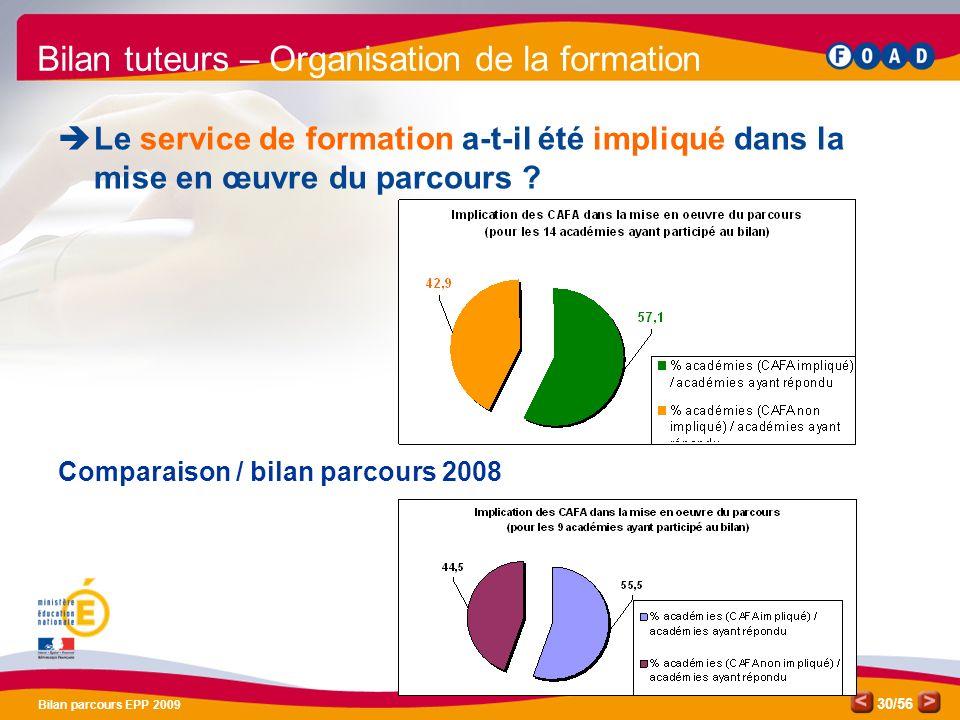 /56 Bilan parcours EPP 2009 30 Bilan tuteurs – Organisation de la formation Le service de formation a-t-il été impliqué dans la mise en œuvre du parcours .