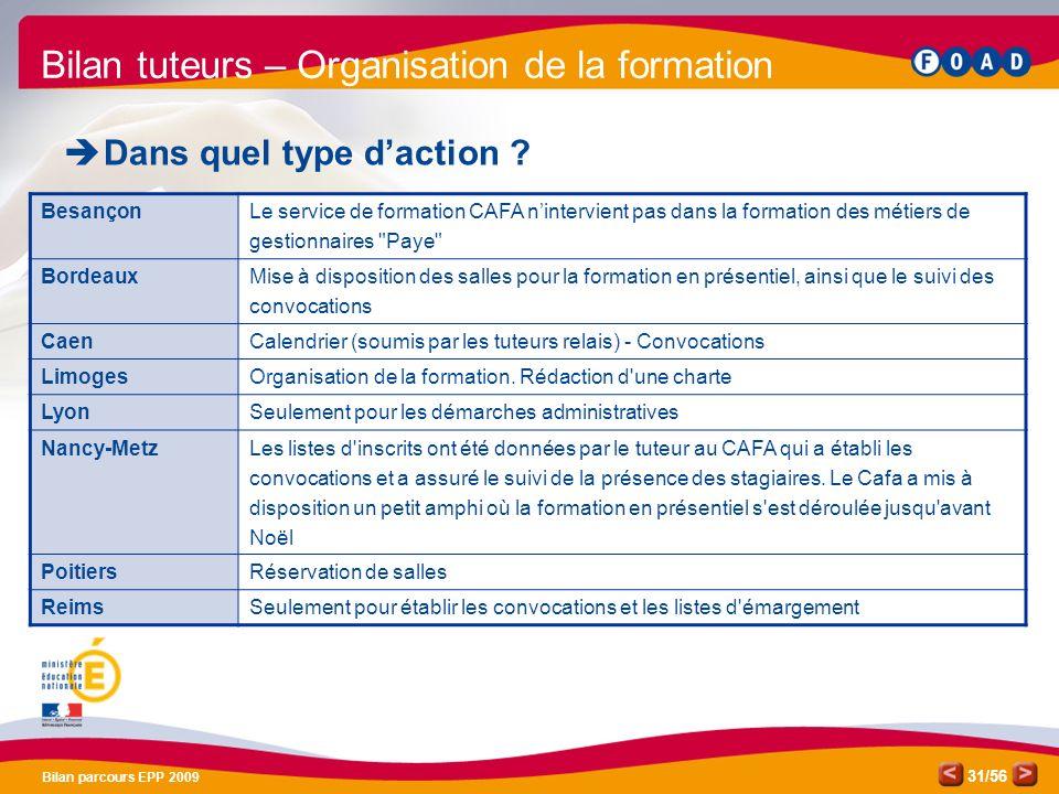 /56 Bilan parcours EPP 2009 31 Bilan tuteurs – Organisation de la formation Dans quel type daction .