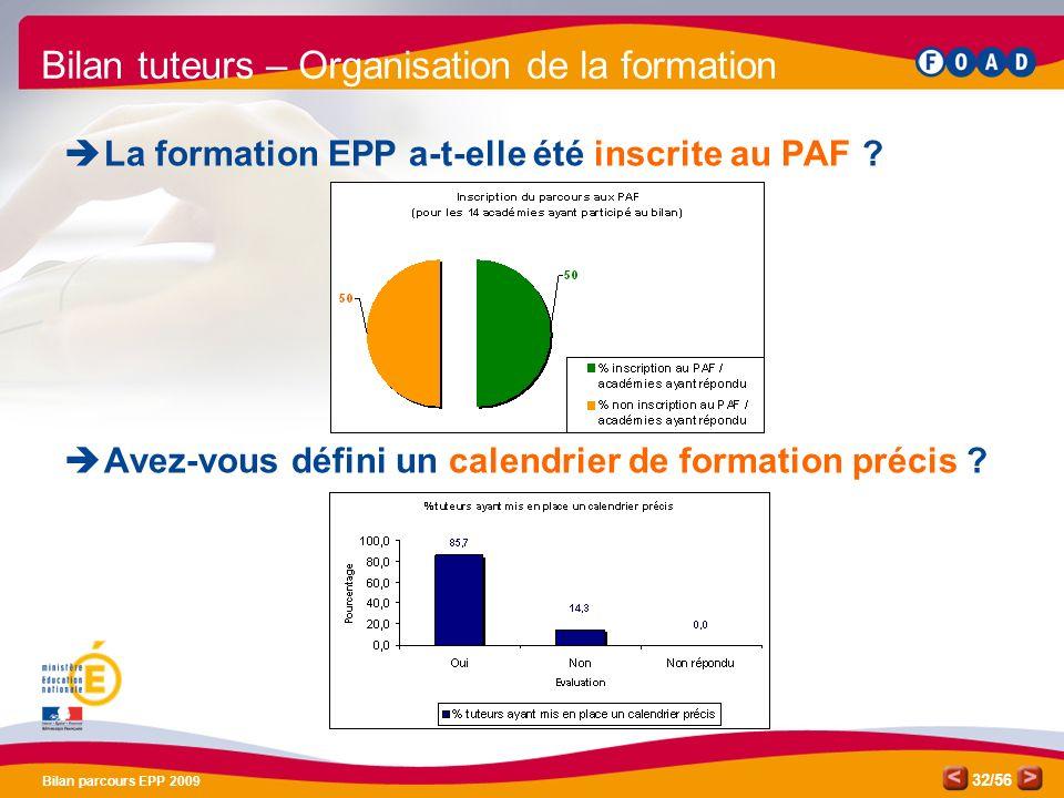 /56 Bilan parcours EPP 2009 32 Bilan tuteurs – Organisation de la formation La formation EPP a-t-elle été inscrite au PAF .