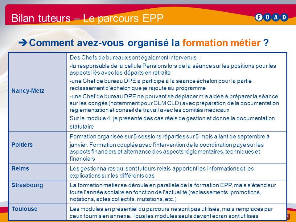/56 Bilan parcours EPP 2009 39 Bilan tuteurs – Le parcours EPP Comment avez-vous organisé la formation métier .