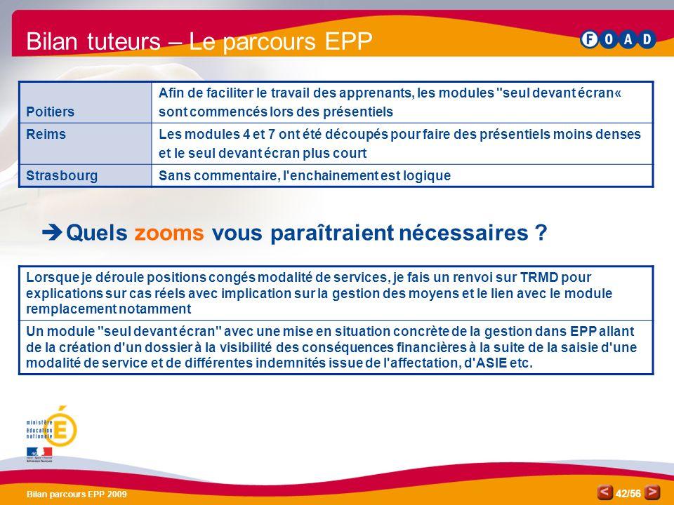 /56 Bilan parcours EPP 2009 42 Bilan tuteurs – Le parcours EPP Quels zooms vous paraîtraient nécessaires .