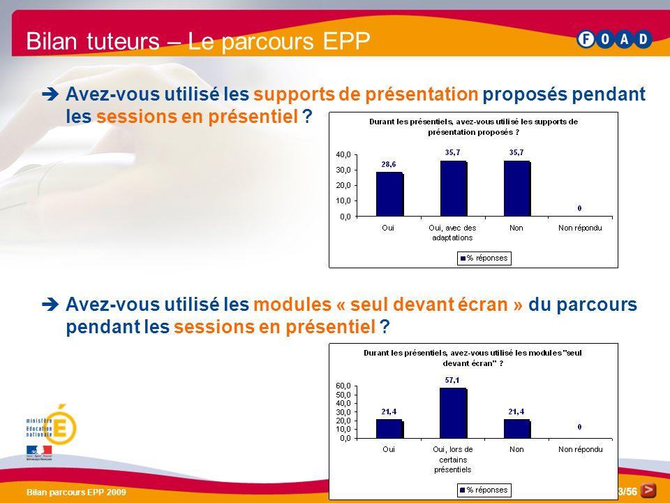 /56 Bilan parcours EPP 2009 43 Bilan tuteurs – Le parcours EPP Avez-vous utilisé les supports de présentation proposés pendant les sessions en présentiel .