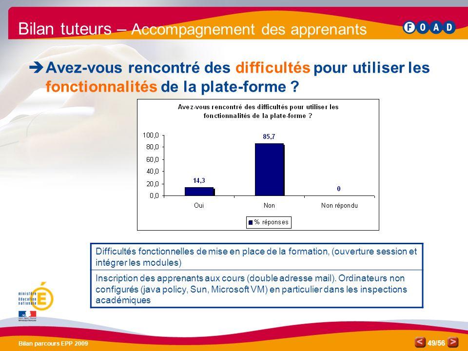 /56 Bilan parcours EPP 2009 49 Bilan tuteurs – Accompagnement des apprenants Avez-vous rencontré des difficultés pour utiliser les fonctionnalités de la plate-forme .
