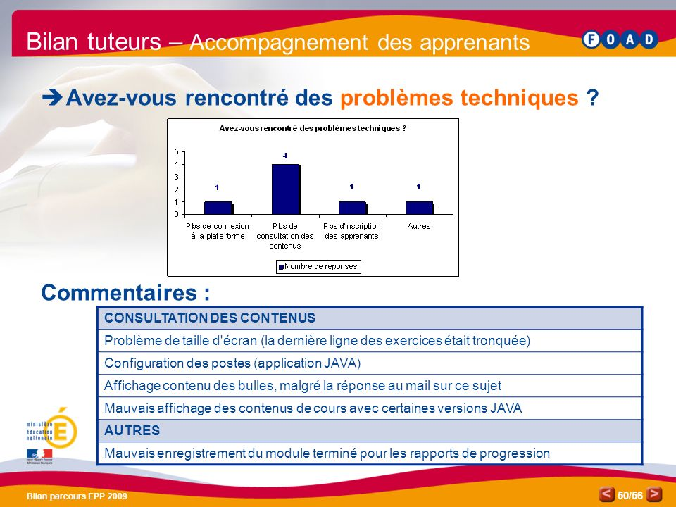 /56 Bilan parcours EPP 2009 50 Bilan tuteurs – Accompagnement des apprenants Avez-vous rencontré des problèmes techniques .