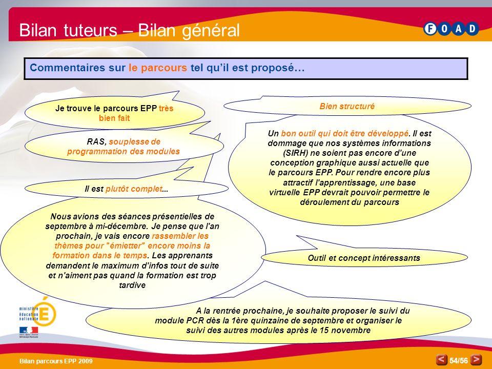 /56 Bilan parcours EPP 2009 54 A la rentrée prochaine, je souhaite proposer le suivi du module PCR dès la 1ère quinzaine de septembre et organiser le suivi des autres modules après le 15 novembre Nous avions des séances présentielles de septembre à mi-décembre.