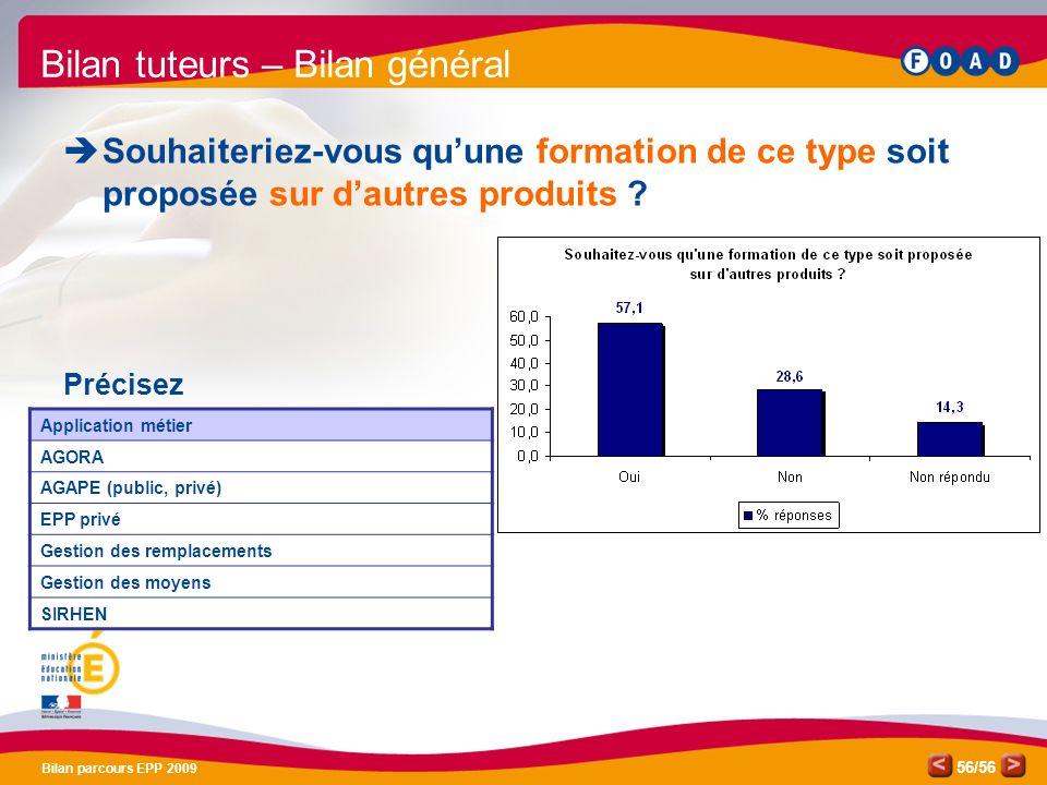 /56 Bilan parcours EPP 2009 56 Bilan tuteurs – Bilan général Souhaiteriez-vous quune formation de ce type soit proposée sur dautres produits .