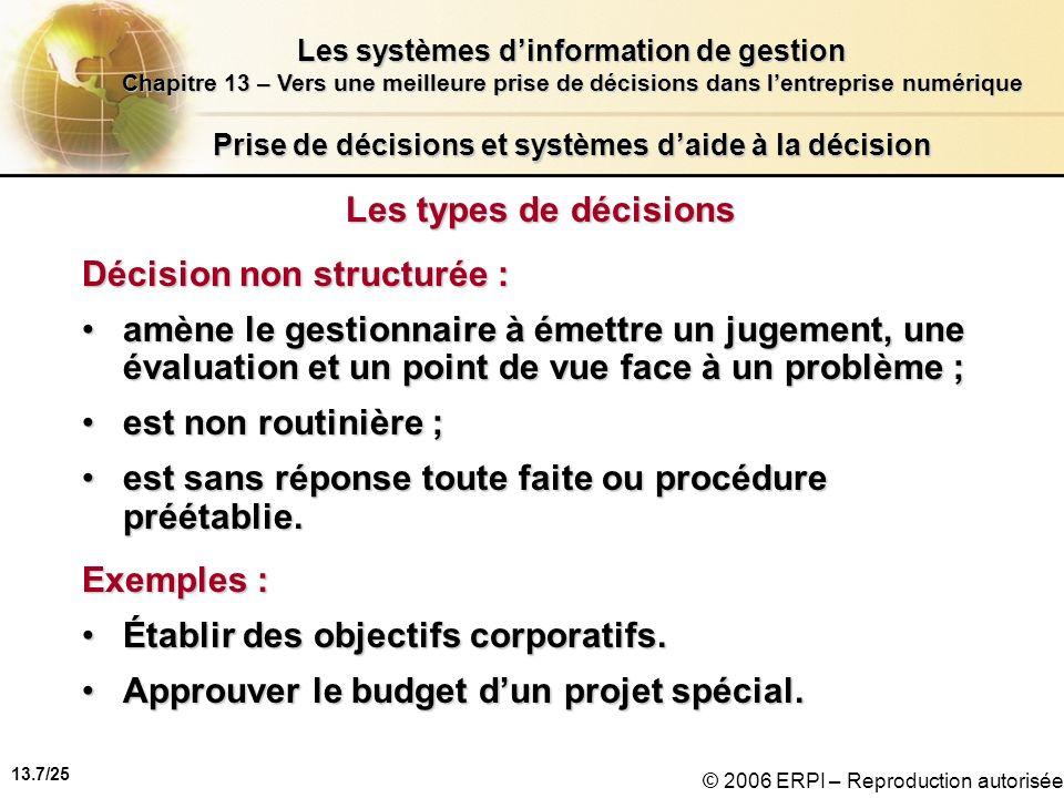 13.8/25 Les systèmes dinformation de gestion Chapitre 13 – Vers une meilleure prise de décisions dans lentreprise numérique © 2006 ERPI – Reproduction autorisée Prise de décisions et systèmes daide à la décision Les types de décisions (suite) Décision structurée : est routinière et répétitive ;est routinière et répétitive ; est accompagnée dune procédure définie.est accompagnée dune procédure définie.