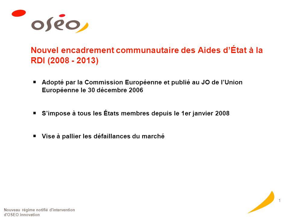Nouveau régime notifié d'intervention d'OSEO innovation 1 Nouvel encadrement communautaire des Aides dÉtat à la RDI (2008 - 2013) Adopté par la Commis