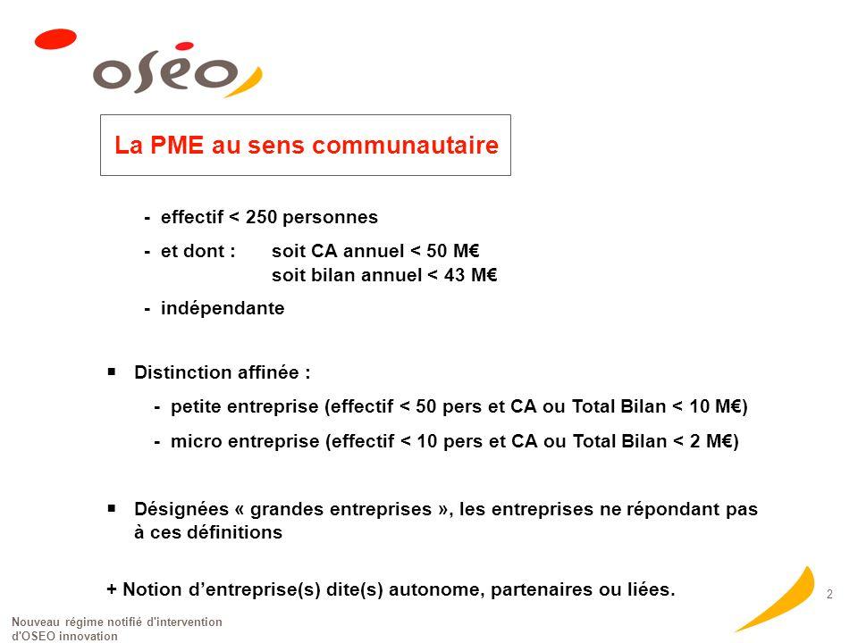 Nouveau régime notifié d'intervention d'OSEO innovation 2 La PME au sens communautaire - effectif < 250 personnes - et dont :soit CA annuel < 50 M soi