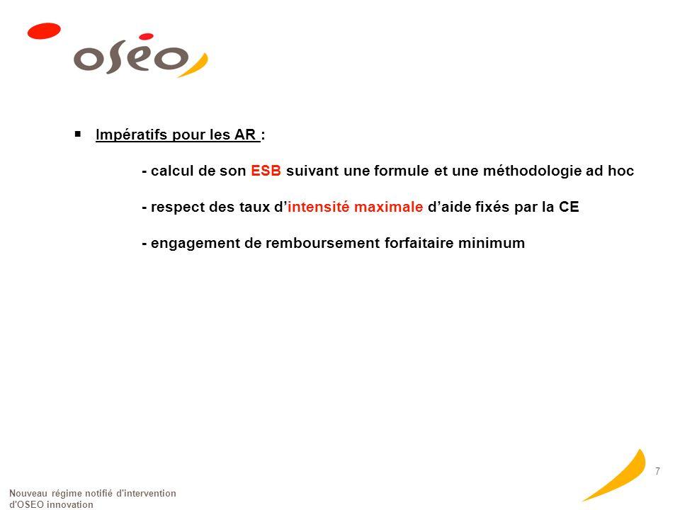 Nouveau régime notifié d intervention d OSEO innovation 7 Impératifs pour les AR : - calcul de son ESB suivant une formule et une méthodologie ad hoc - respect des taux dintensité maximale daide fixés par la CE - engagement de remboursement forfaitaire minimum