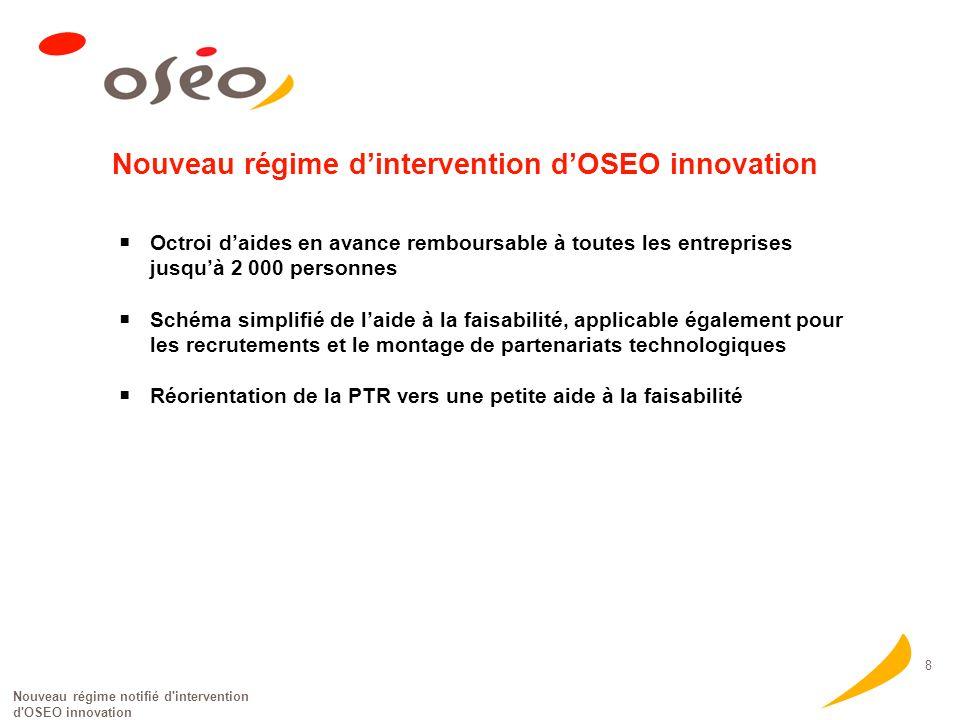 Nouveau régime notifié d'intervention d'OSEO innovation 8 Nouveau régime dintervention dOSEO innovation Octroi daides en avance remboursable à toutes