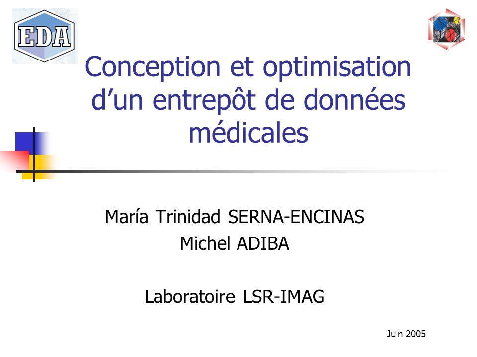 Conception et optimisation dun entrepôt de données médicales María Trinidad SERNA-ENCINAS Michel ADIBA Laboratoire LSR-IMAG Juin 2005