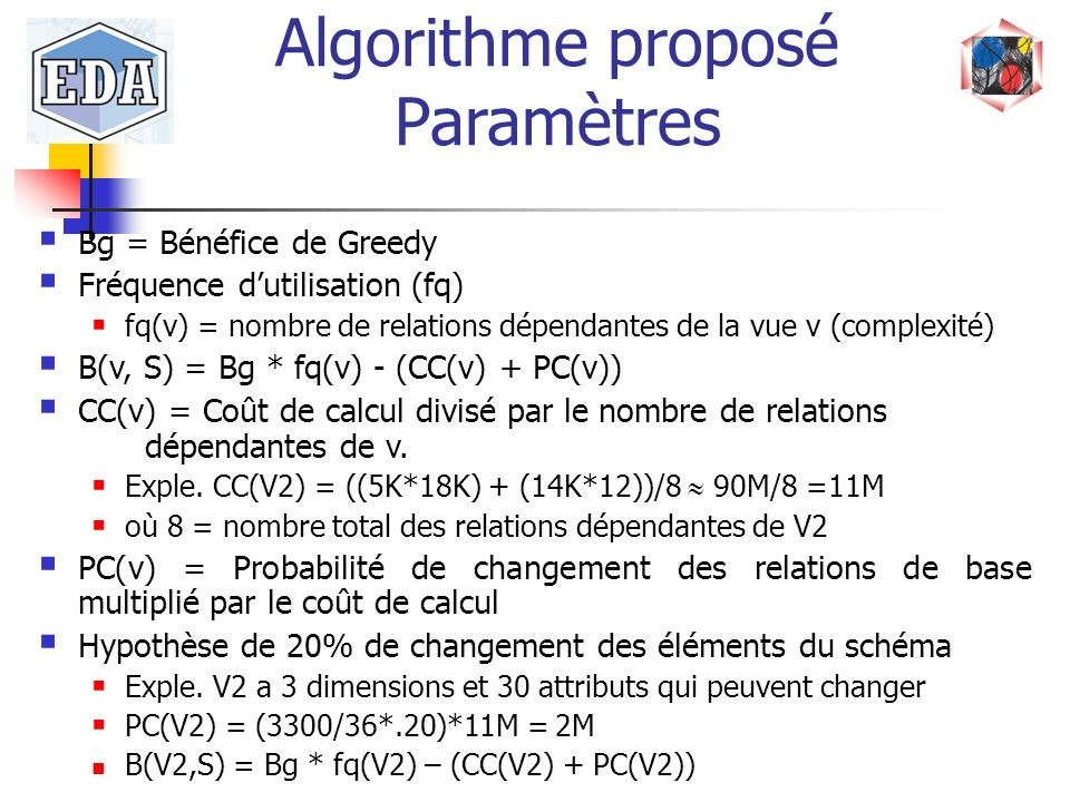 Bg = Bénéfice de Greedy Fréquence dutilisation (fq) fq(v) = nombre de relations dépendantes de la vue v (complexité) B(v, S) = Bg * fq(v) - (CC(v) + P