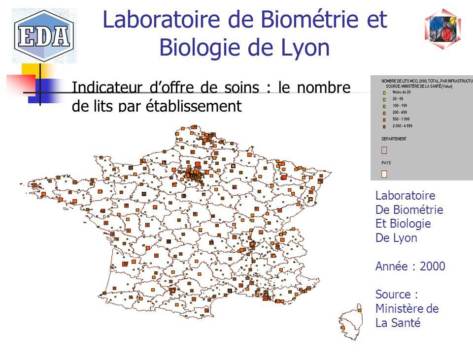 Laboratoire de Biométrie et Biologie de Lyon Indicateur doffre de soins : le nombre de lits par établissement Laboratoire De Biométrie Et Biologie De
