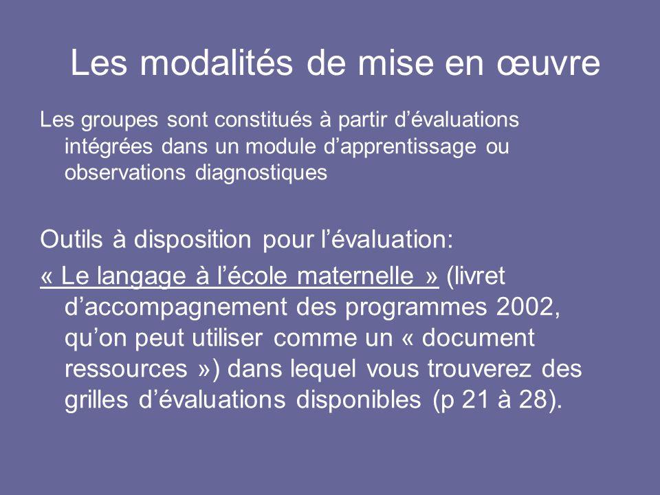 Les modalités de mise en œuvre Les groupes sont constitués à partir dévaluations intégrées dans un module dapprentissage ou observations diagnostiques