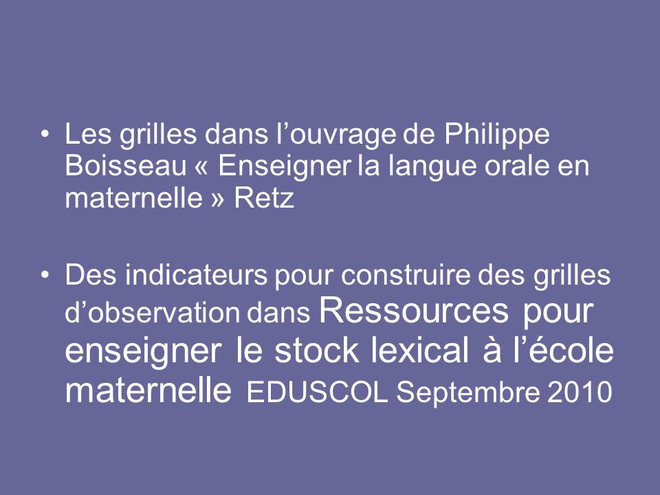 Les grilles dans louvrage de Philippe Boisseau « Enseigner la langue orale en maternelle » Retz Des indicateurs pour construire des grilles dobservati
