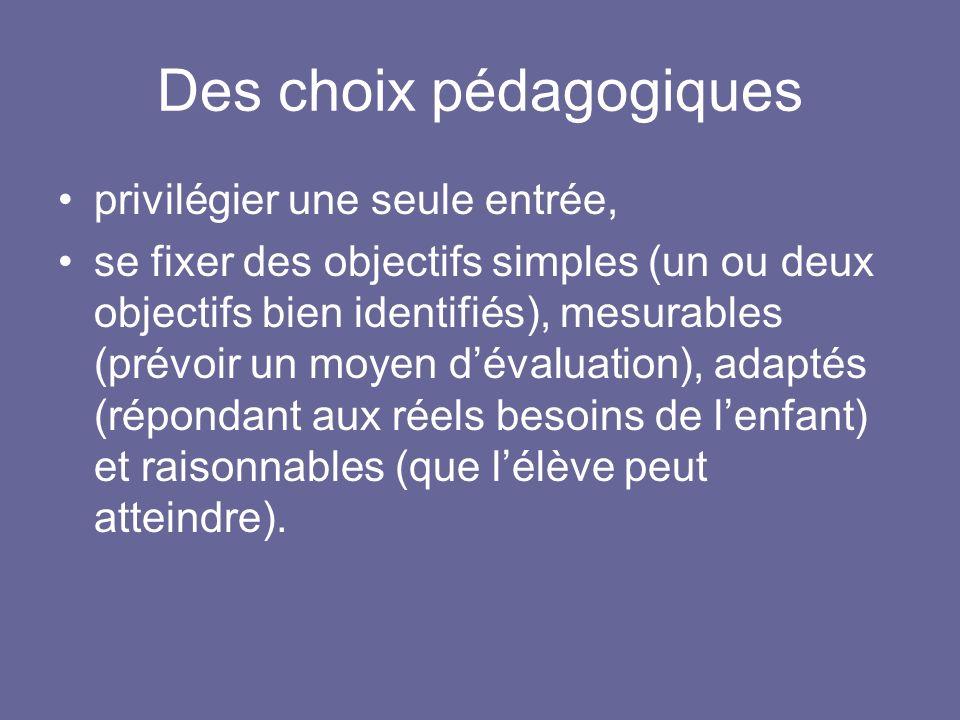 Des choix pédagogiques privilégier une seule entrée, se fixer des objectifs simples (un ou deux objectifs bien identifiés), mesurables (prévoir un moy