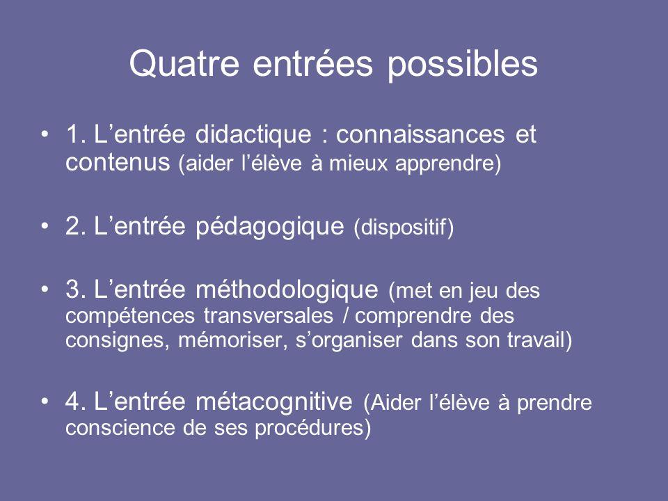 Quatre entrées possibles 1. Lentrée didactique : connaissances et contenus (aider lélève à mieux apprendre) 2. Lentrée pédagogique (dispositif) 3. Len