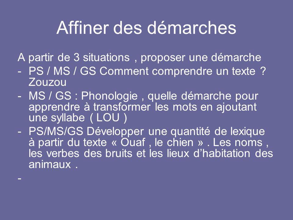 Affiner des démarches A partir de 3 situations, proposer une démarche -PS / MS / GS Comment comprendre un texte ? Zouzou -MS / GS : Phonologie, quelle