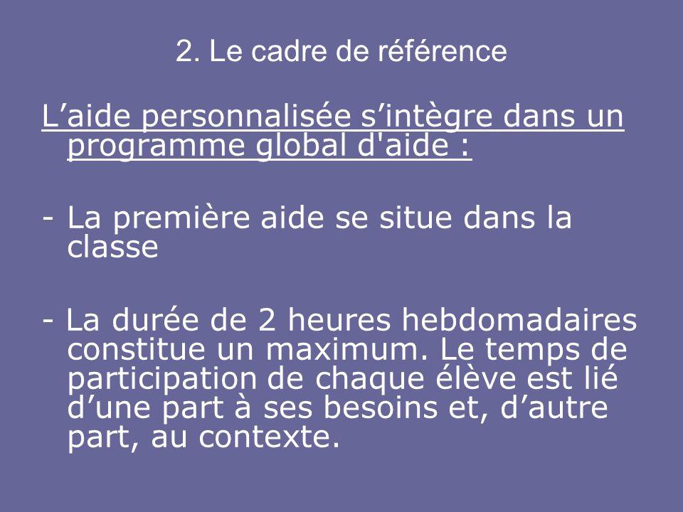 2. Le cadre de référence Laide personnalisée sintègre dans un programme global d'aide : -La première aide se situe dans la classe - La durée de 2 heur