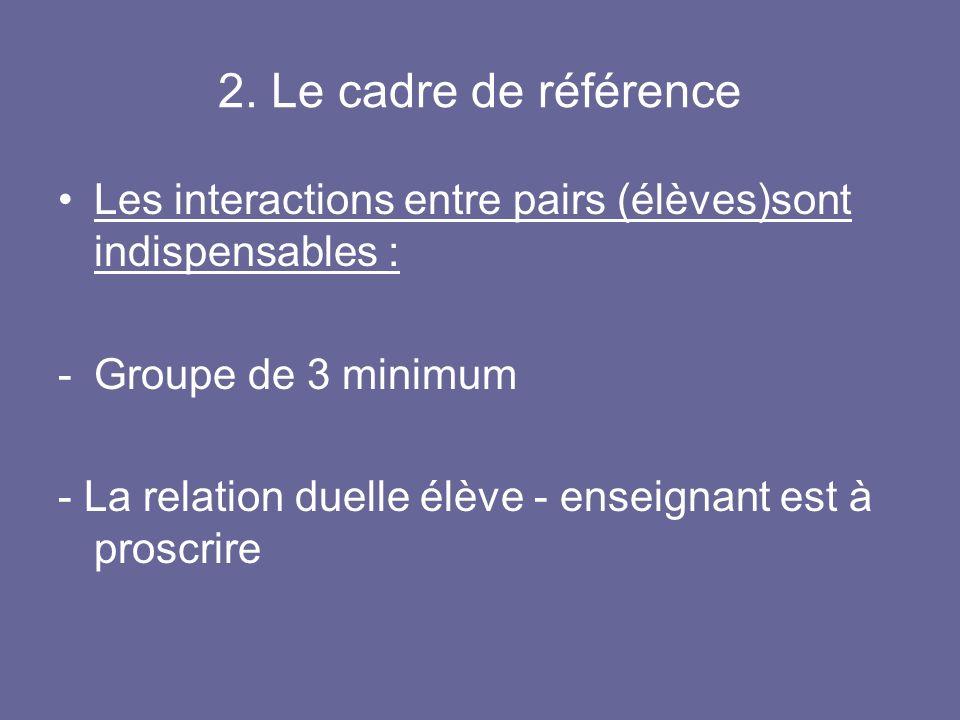 2. Le cadre de référence Les interactions entre pairs (élèves)sont indispensables : -Groupe de 3 minimum - La relation duelle élève - enseignant est à