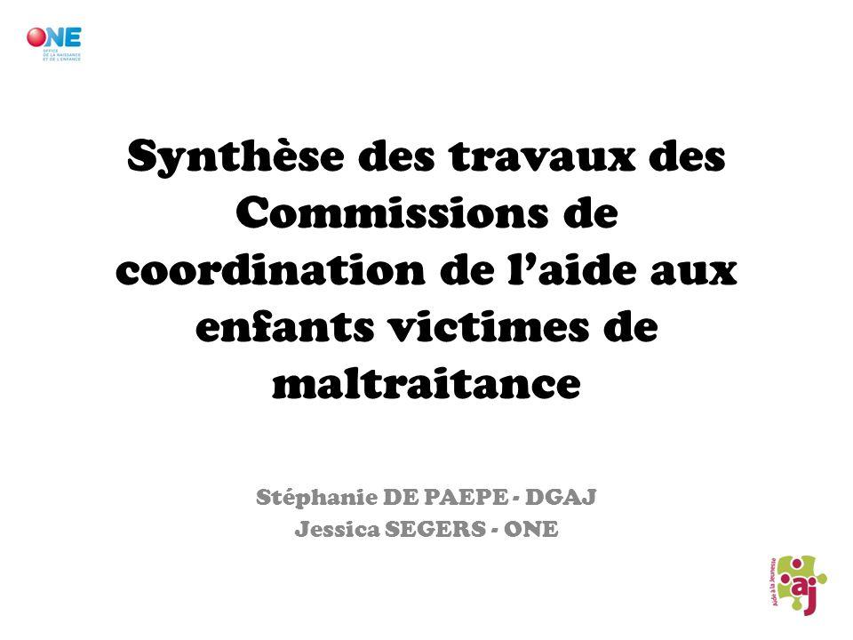 Synthèse des travaux des Commissions de coordination de laide aux enfants victimes de maltraitance Stéphanie DE PAEPE - DGAJ Jessica SEGERS - ONE