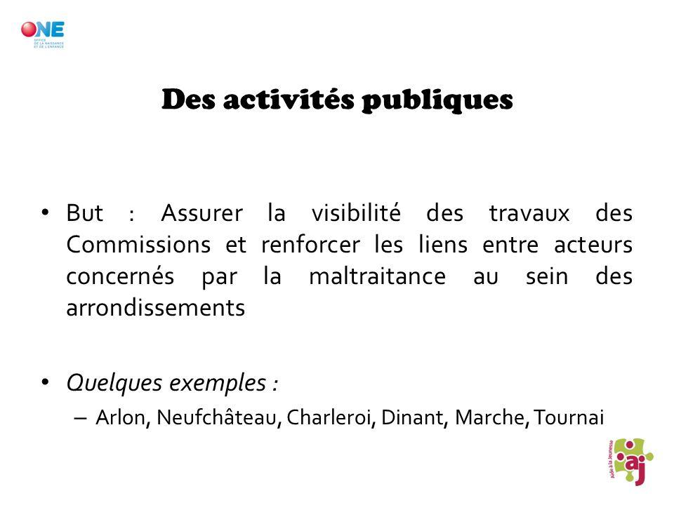 Des activités publiques But : Assurer la visibilité des travaux des Commissions et renforcer les liens entre acteurs concernés par la maltraitance au