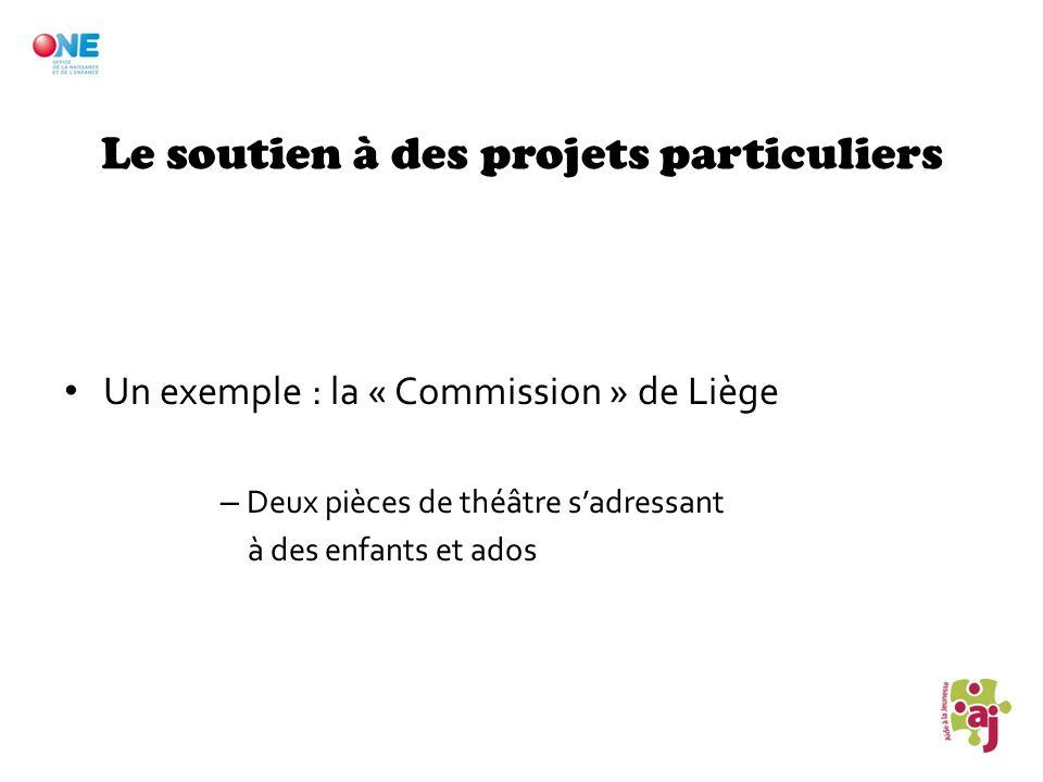 Le soutien à des projets particuliers Un exemple : la « Commission » de Liège – Deux pièces de théâtre sadressant à des enfants et ados