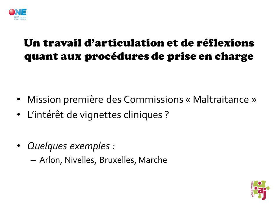 Un travail darticulation et de réflexions quant aux procédures de prise en charge Mission première des Commissions « Maltraitance » Lintérêt de vignet