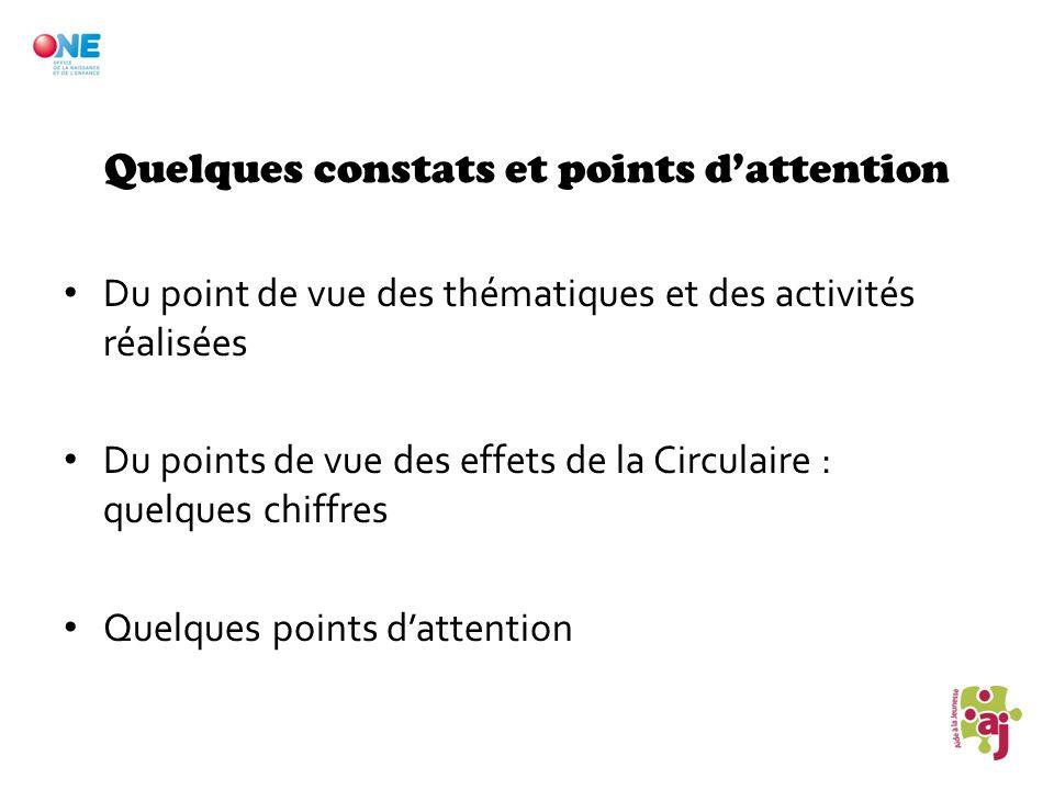 Quelques constats et points dattention Du point de vue des thématiques et des activités réalisées Du points de vue des effets de la Circulaire : quelq