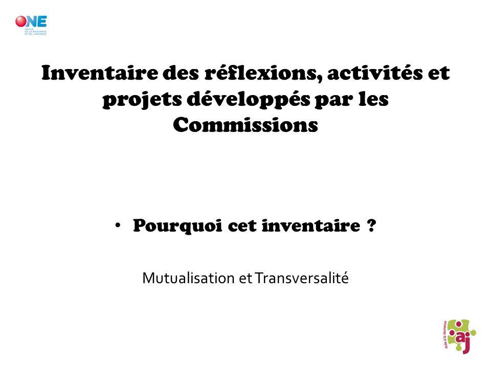 Inventaire des réflexions, activités et projets développés par les Commissions Pourquoi cet inventaire ? Mutualisation et Transversalité