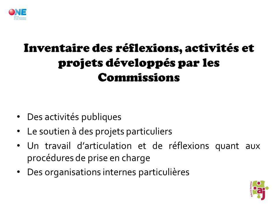 Inventaire des réflexions, activités et projets développés par les Commissions Des activités publiques Le soutien à des projets particuliers Un travai