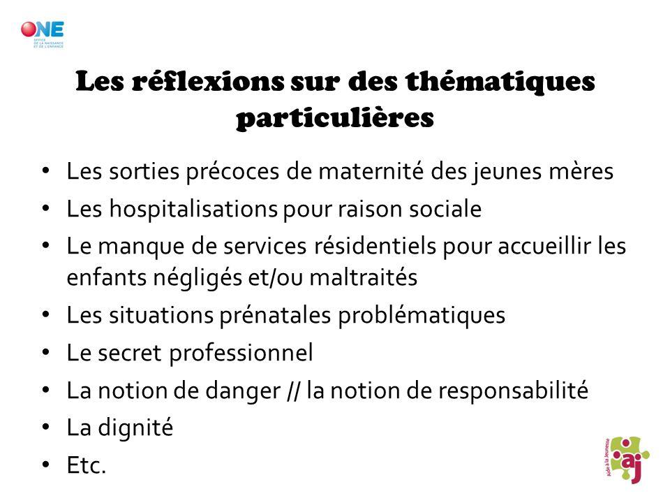 Les réflexions sur des thématiques particulières Les sorties précoces de maternité des jeunes mères Les hospitalisations pour raison sociale Le manque